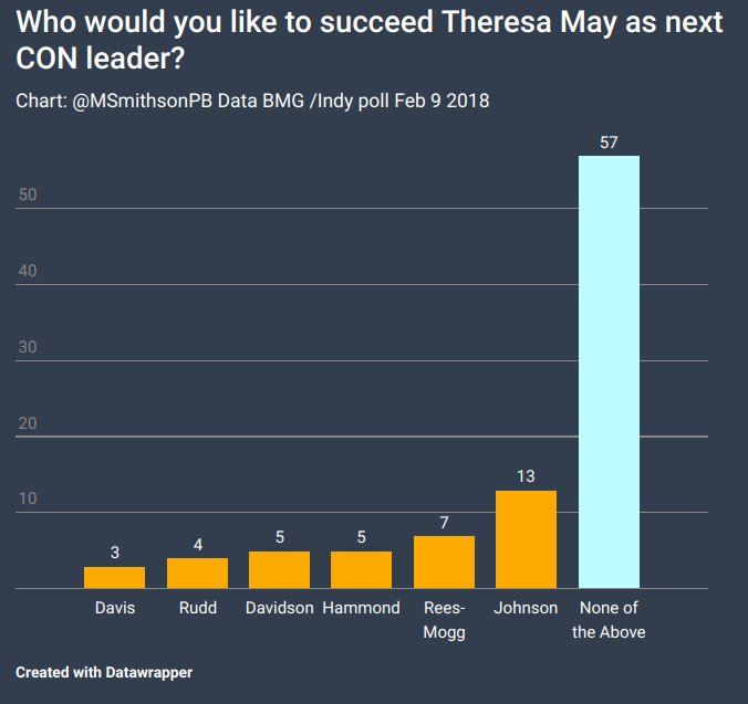 May to stay because votes show NOBODY ELSE is strong enough to lead the Tories